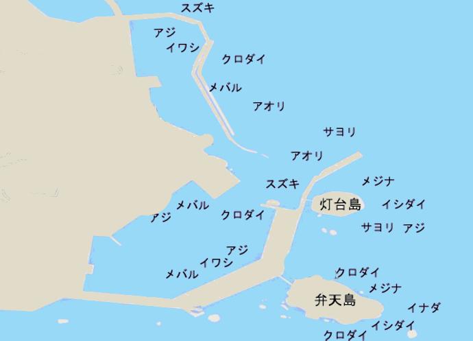 鴨川港ポイント図