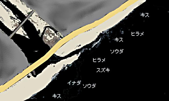 酒匂海岸ポイント図