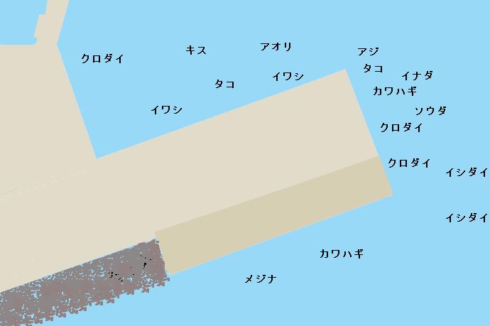 江ノ島湘南大堤防ポイント図