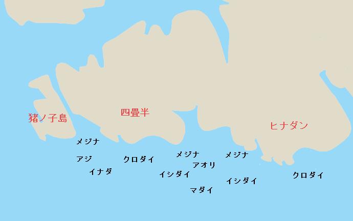城ヶ島ヒナダン・四畳半ポイント図