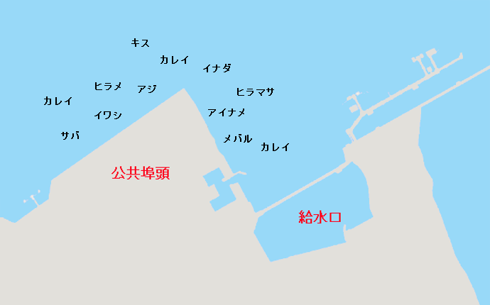 鹿嶋港公共埠頭・東電給水口ポイント図
