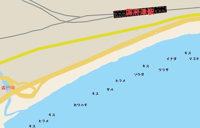 国府津海岸のポイント図