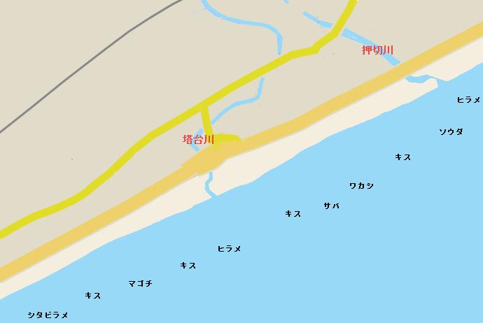 前羽海岸ポイント図