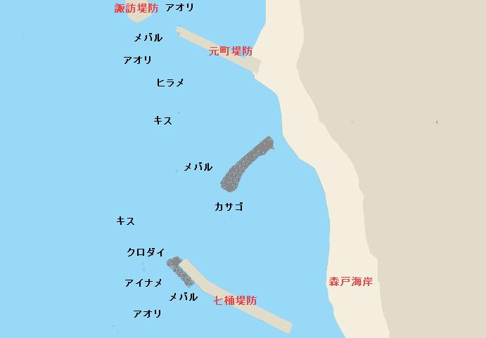 葉山元町堤防ポイント図