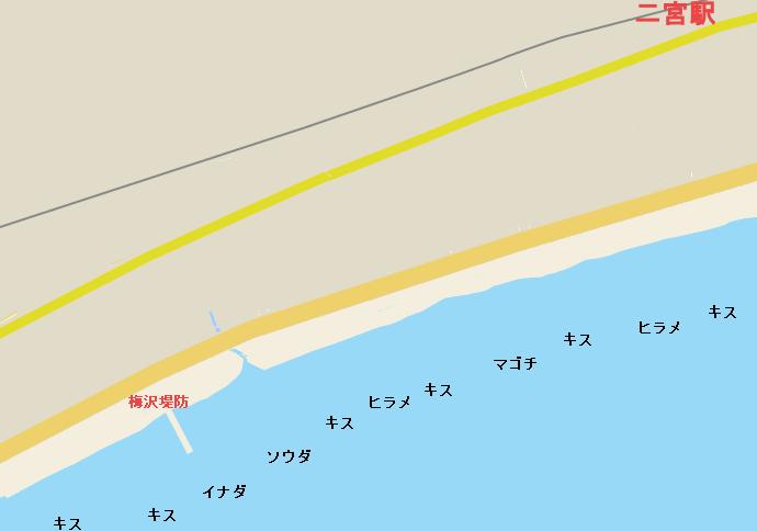 二宮海岸ポイント図