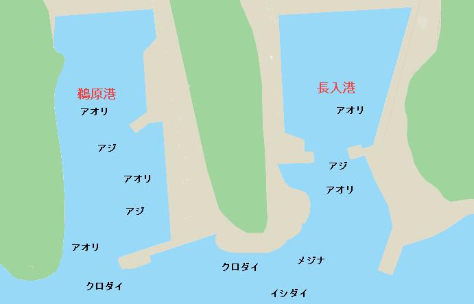 鵜原港・長入港ポイント図