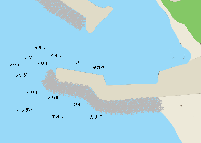 初島第二漁港ポイント図