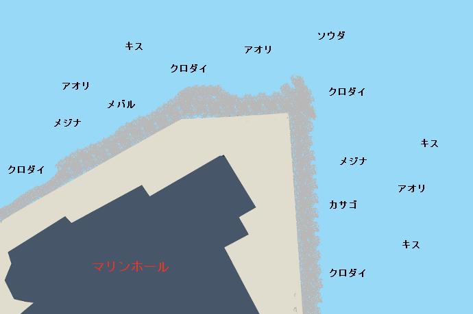 熱海マリンホール裏ポイント図