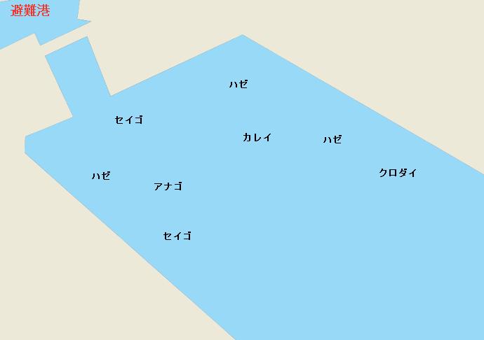 鍋田避難港周辺のポイント