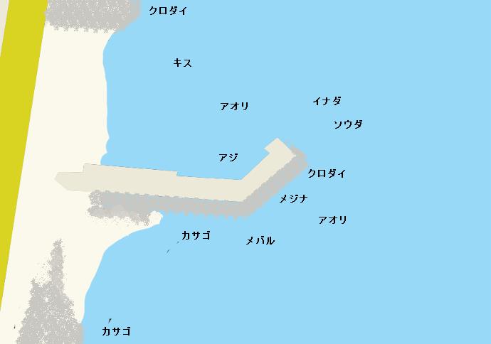 西倉沢漁港ポイント図