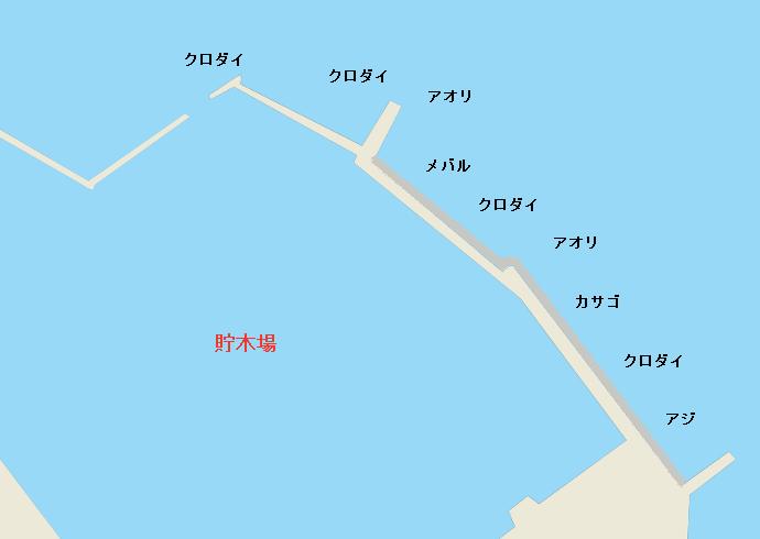 御前崎港貯木場ポイント図