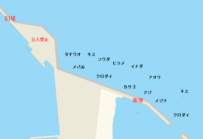御前崎港新堤ポイント図