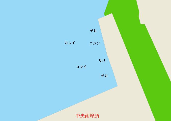 苫小牧西港中央南埠頭ポイント図