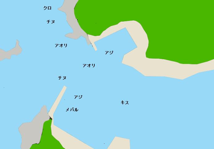 特牛漁港ポイント図