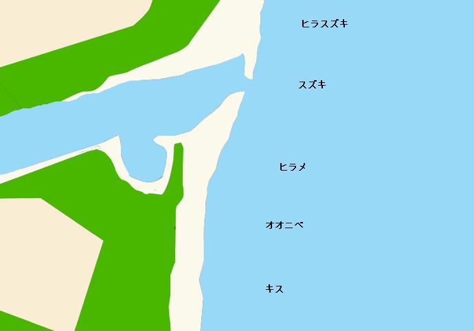 名貫川河口ポイント図