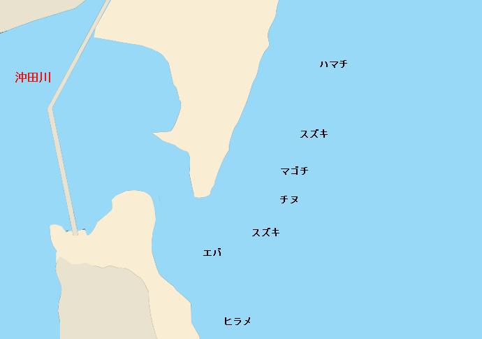 沖田川河口ポイント図