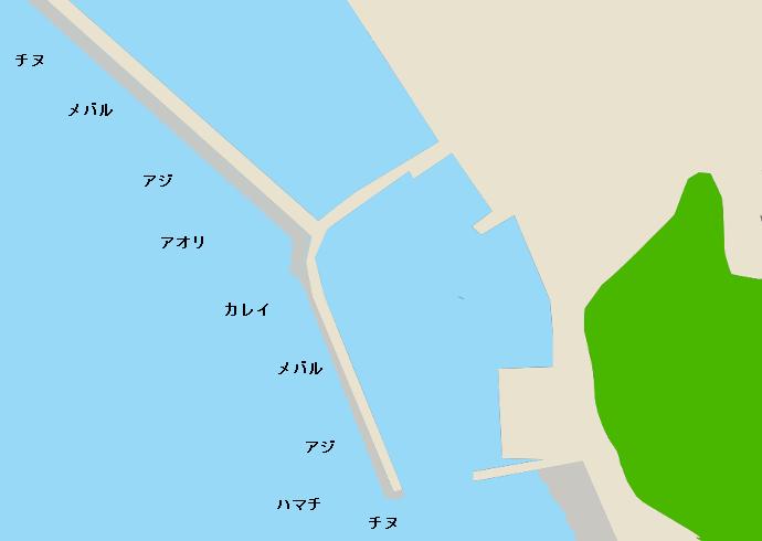佐連漁港ポイント図