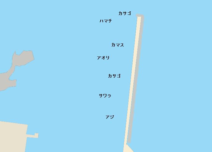 細島白浜港ポイント図