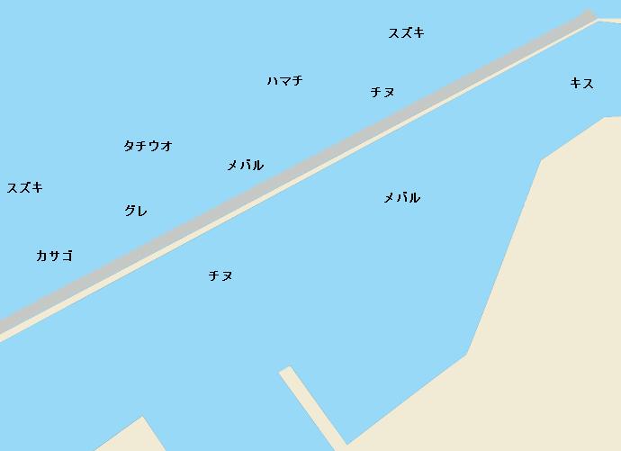 有田川河口一文字ポイント図