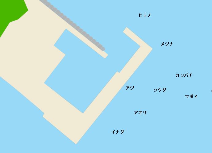 羽伏浦漁港ポイント図