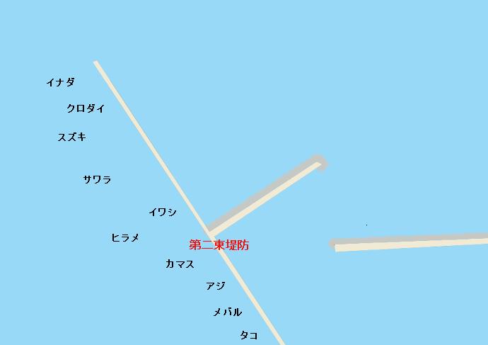 新潟東港第二東堤防ポイント図
