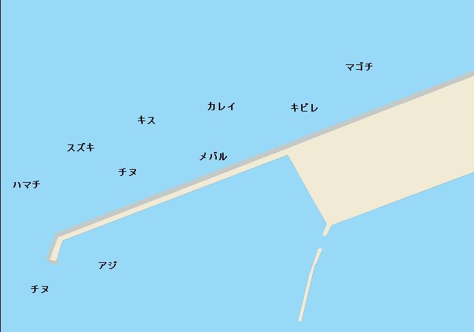 紀ノ川河口青岸白灯台ポイント図