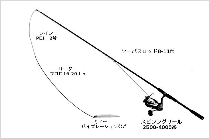 シーバスのルアータックル(ロッド:シーバス用ルアーロッド8-11ft、リール:スピニングリール2500-4000番、ライン:PE1-2号、リーダー:フロロ16-20lb、ルアー:ミノー、バイブレーションなど)