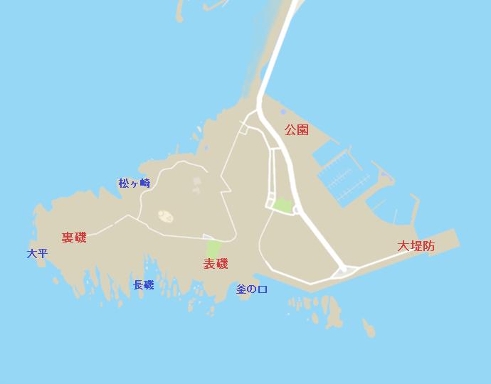 江ノ島全景(オリンピック公園、湘南大堤防、表磯、裏磯)
