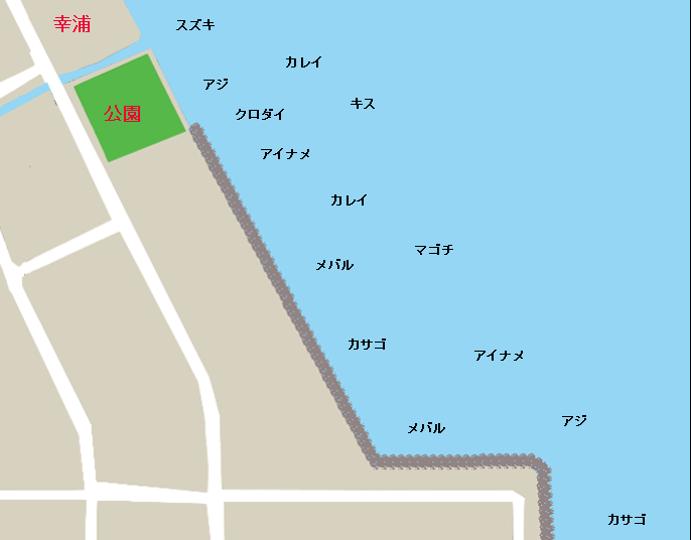 福良岸壁ポイント図(公園~テトラ帯)