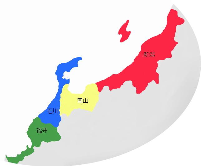 北陸地方の地図