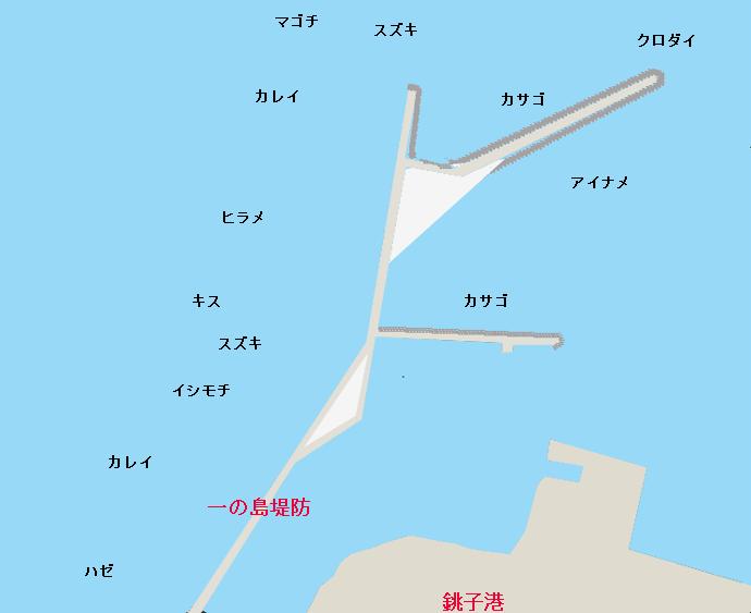 一の島堤防ポイント図