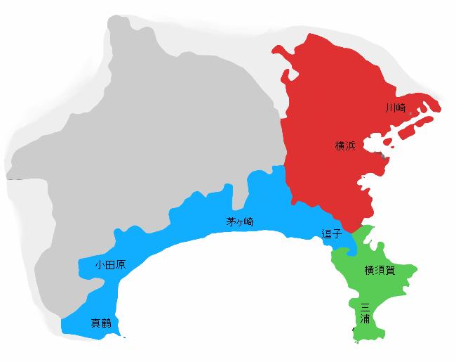 神奈川県の地図