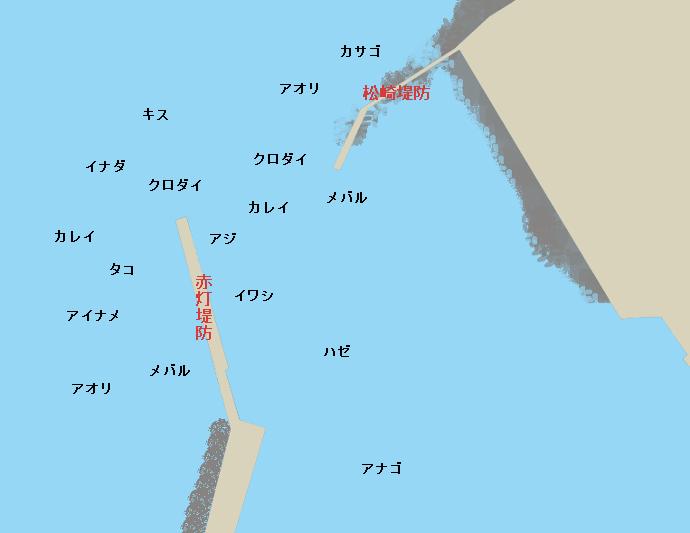 長井港ポイント図(赤灯堤防、松崎堤防)