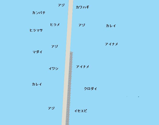 鹿島港南堤防ポイント図