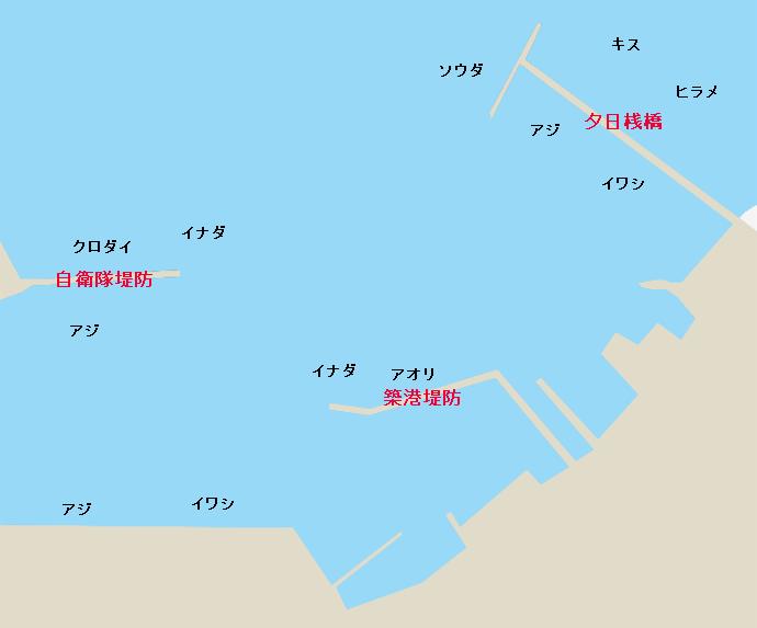 館山港全景(自衛隊堤防、築港堤防、夕日桟橋)