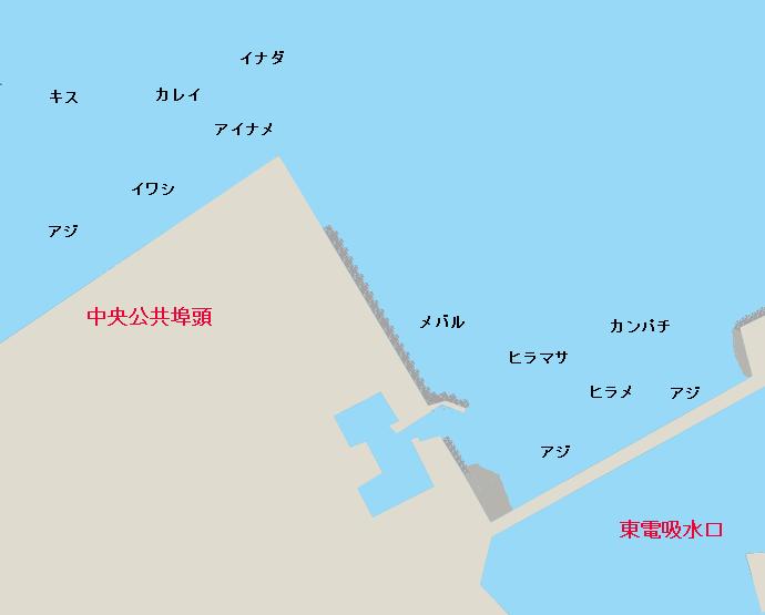 鹿島港公共埠頭・東電吸水口ポイント図