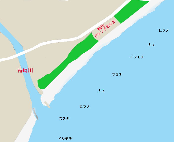 東条海岸のポイント(待崎川河口付近)