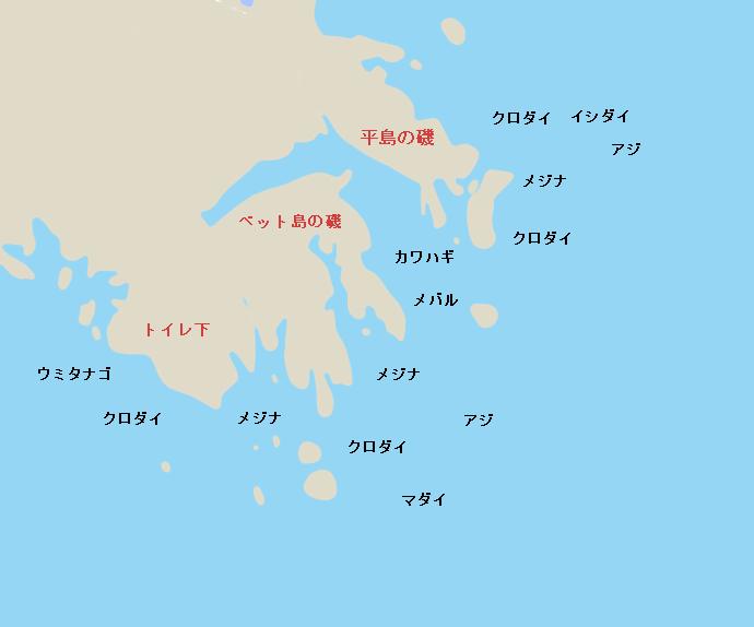剣崎地磯ポイント図