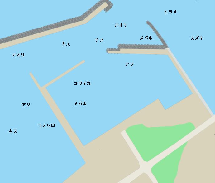 芦屋漁港ポイント図