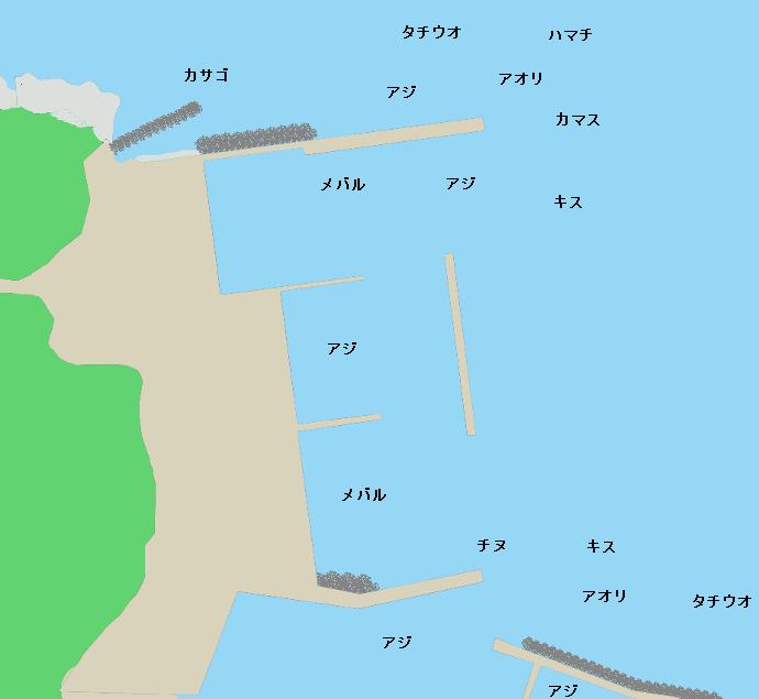 衣奈漁港ポイント図