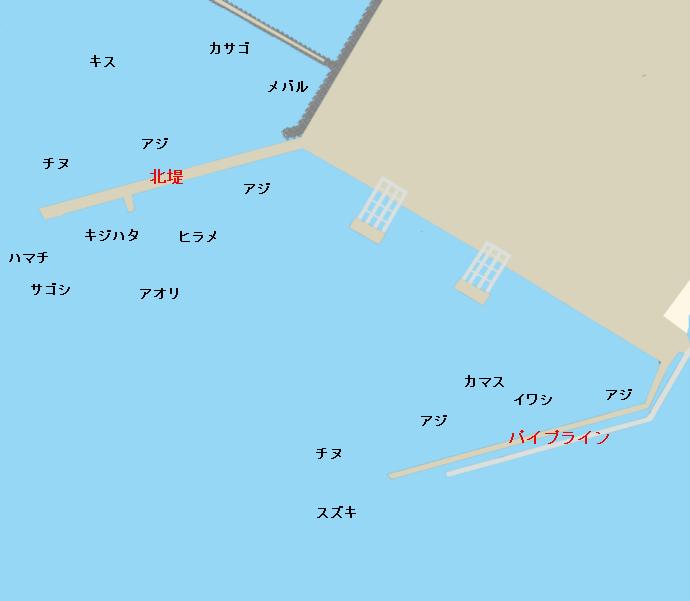 福井新港北堤・パイプラインポイント図