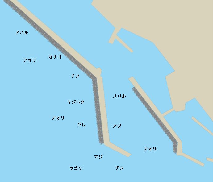 甲楽城漁港ポイント図
