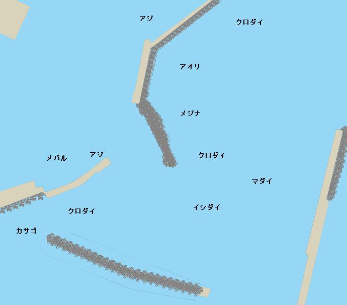舳倉島漁港ポイント図