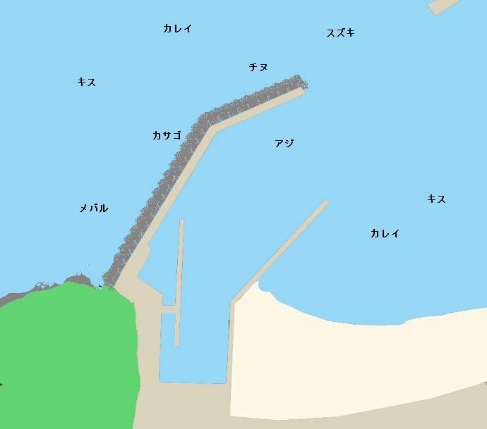 鞠山海水浴場突堤ポイント図