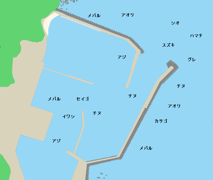 波切漁港ポイント図