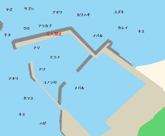 奈多漁港ポイント図