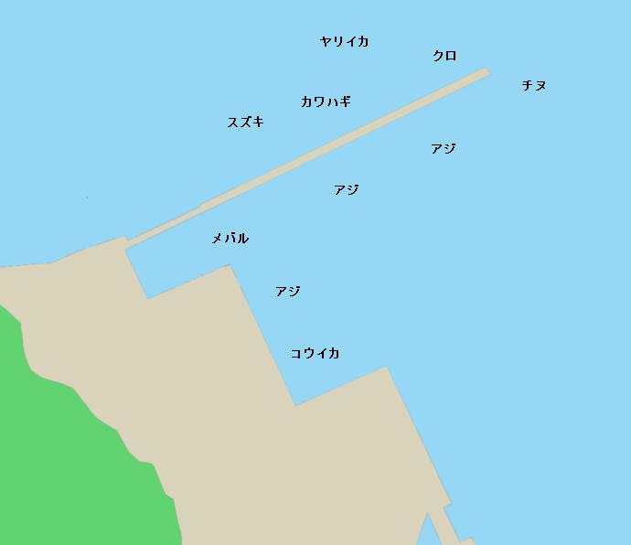 名護屋漁港ポイント図