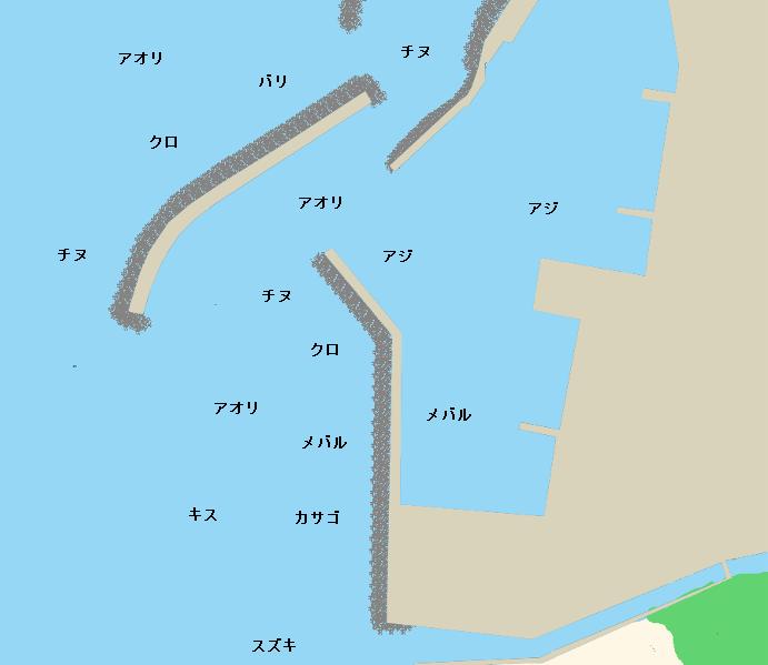 西浦漁港ポイント図