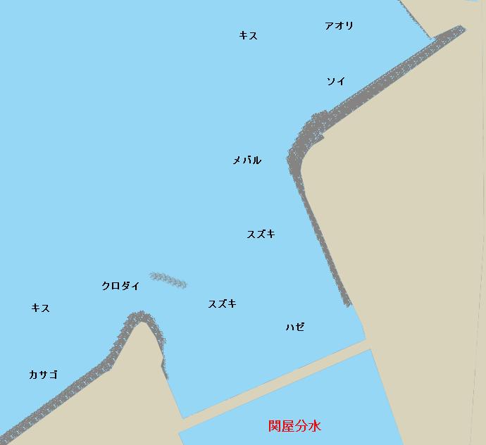 関屋分水河口ポイント図