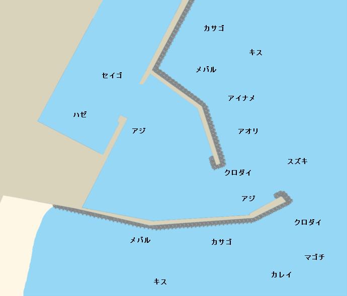 白塚漁港ポイント図
